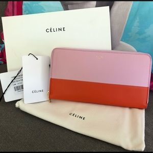 💯% Authentic Celine Large Zipped Wallet
